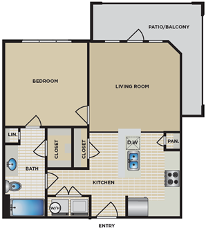 A1 - One Bedroom / One Bath - 657-684 Sq. Ft.*