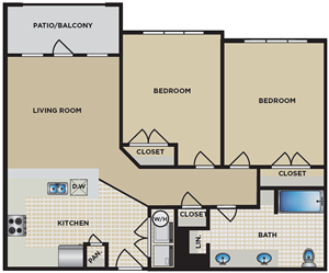 B5 - Two Bedroom / One Bath - 908 Sq. Ft.*
